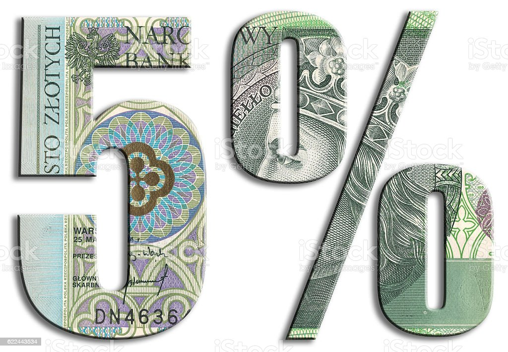 5% VAT tax level in Poland. Polish Zloty texture. stock photo