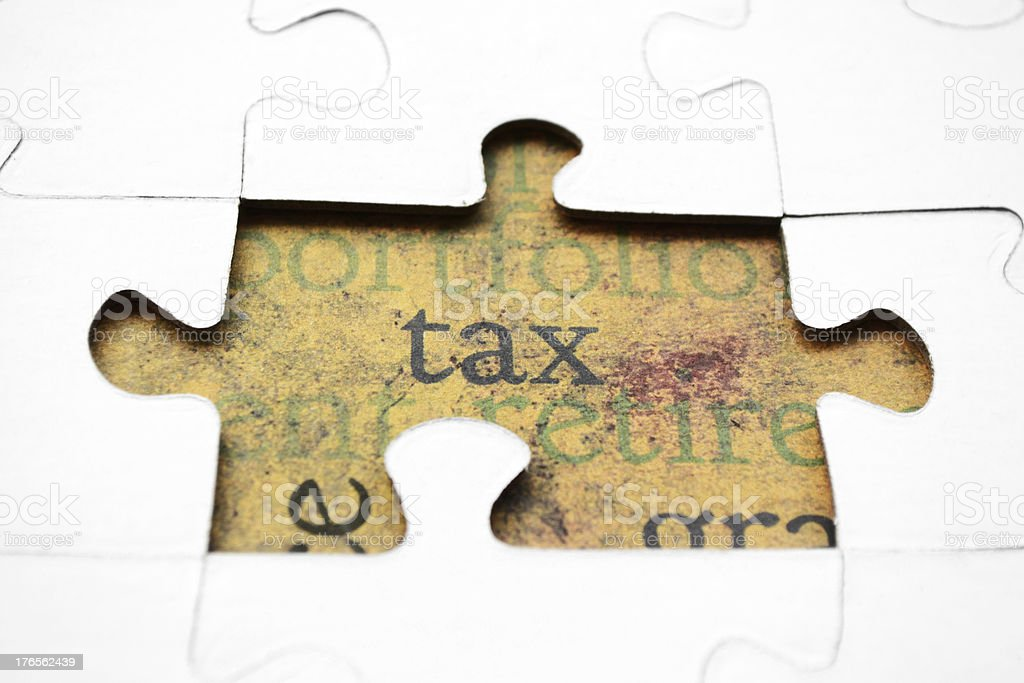 Tax puzzle concept royalty-free stock photo
