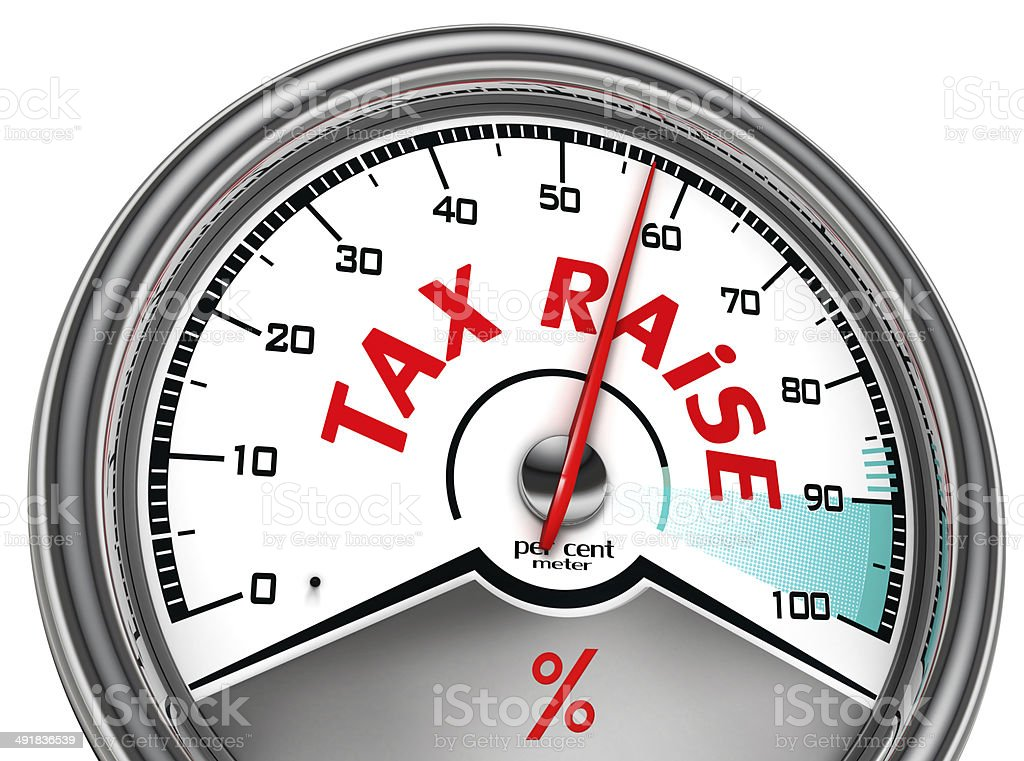 tax raise conceptual meter stock photo
