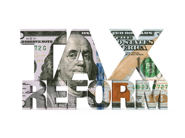 Tax Reform Dollar Isolated Tax Reform Dollar isolated on white background. 3D render economic reform stock pictures, royalty-free photos & images