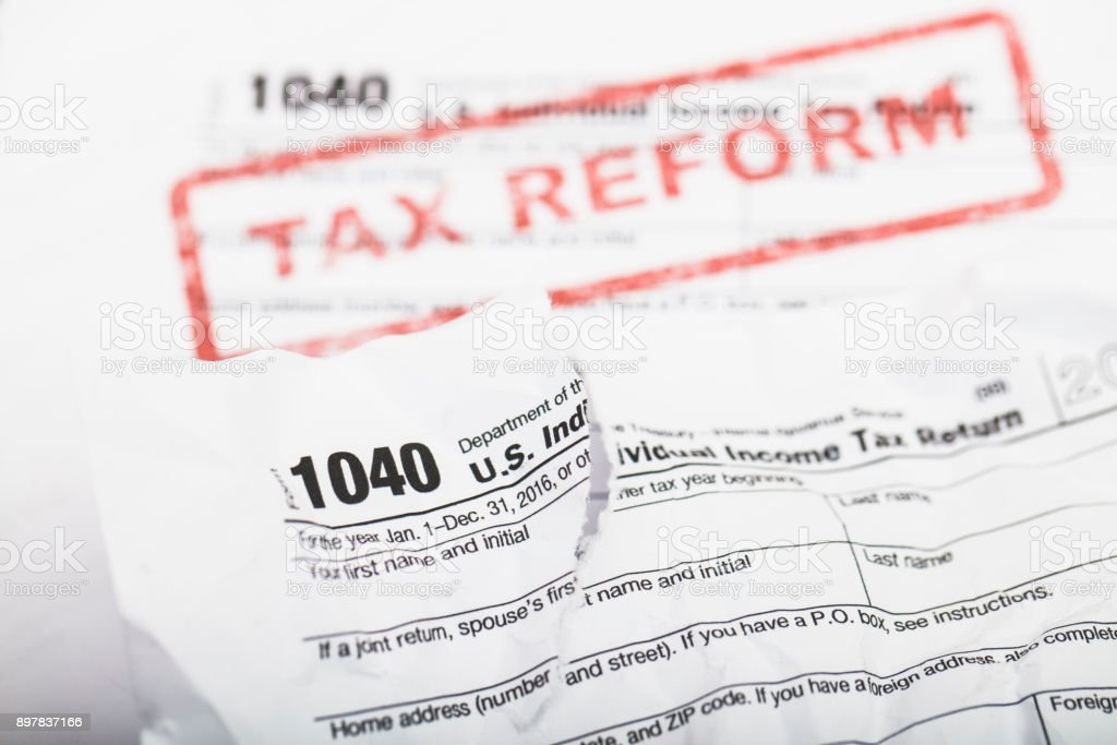 Tax Reform IRS 1040 form stock photo