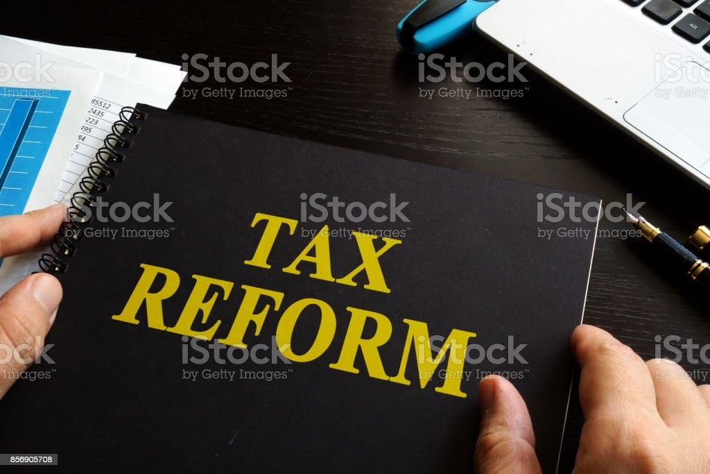 Tax reform on an office desk. stock photo