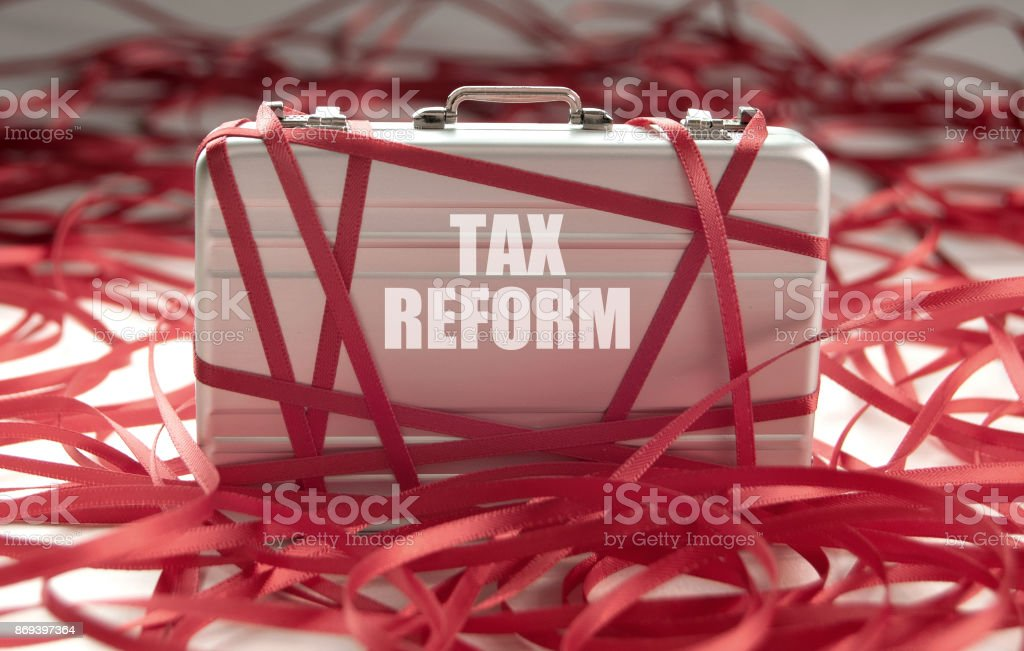 Tax reform red tape concept stock photo