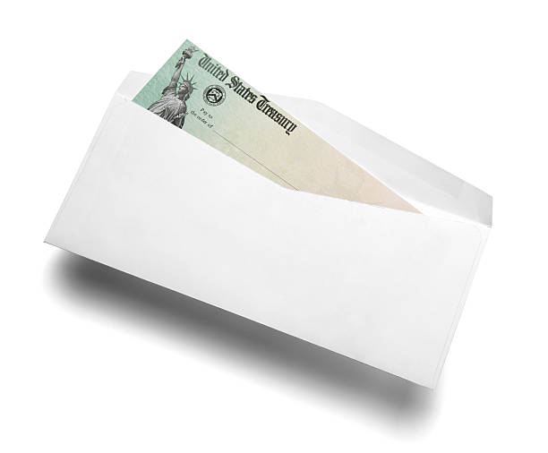 us tax refund check - social security check stock photos and pictures