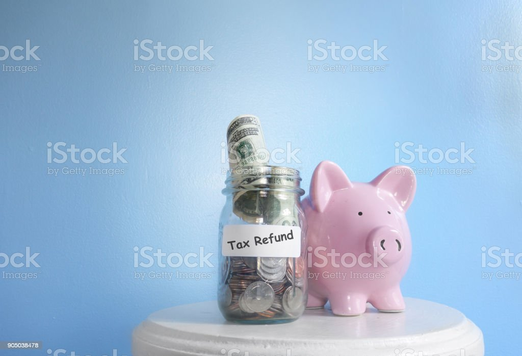 Tax refund money stock photo