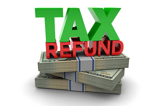 Tax Refund Tax refund illustration isolated on white background refund stock pictures, royalty-free photos & images