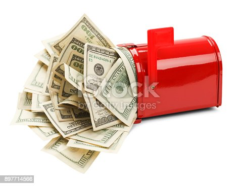 Red Mail Box with Money Pouring Out Isolated on White Background.