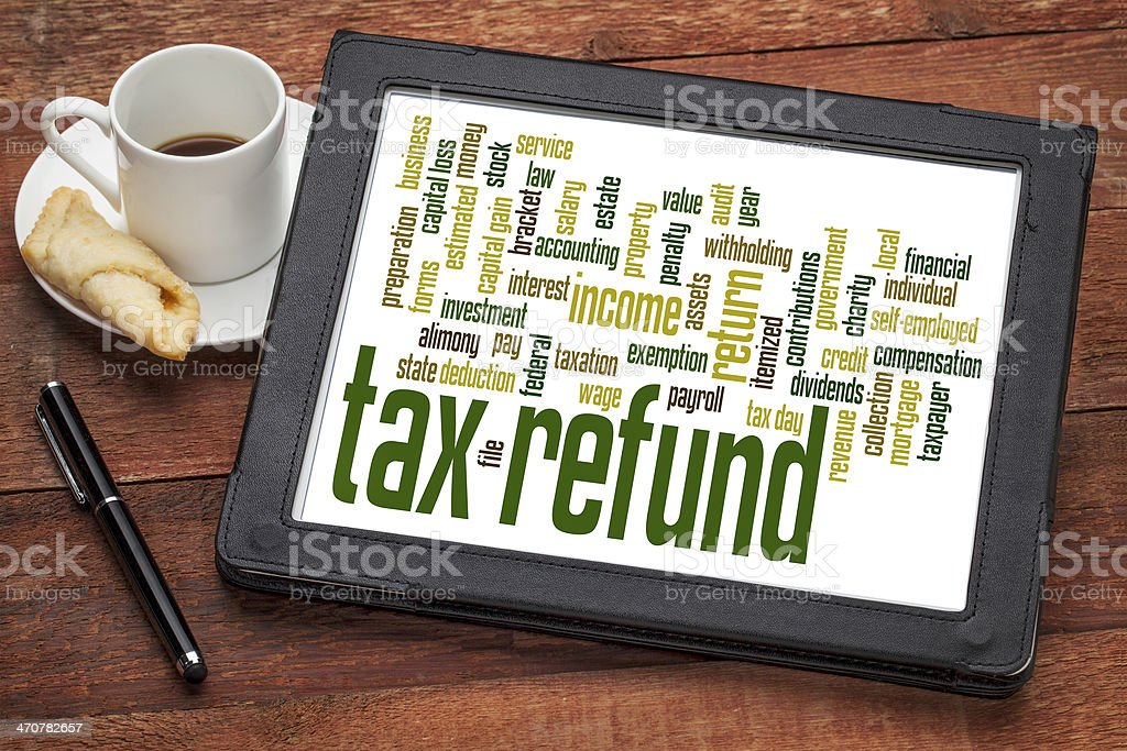 tax refund word cloud stock photo