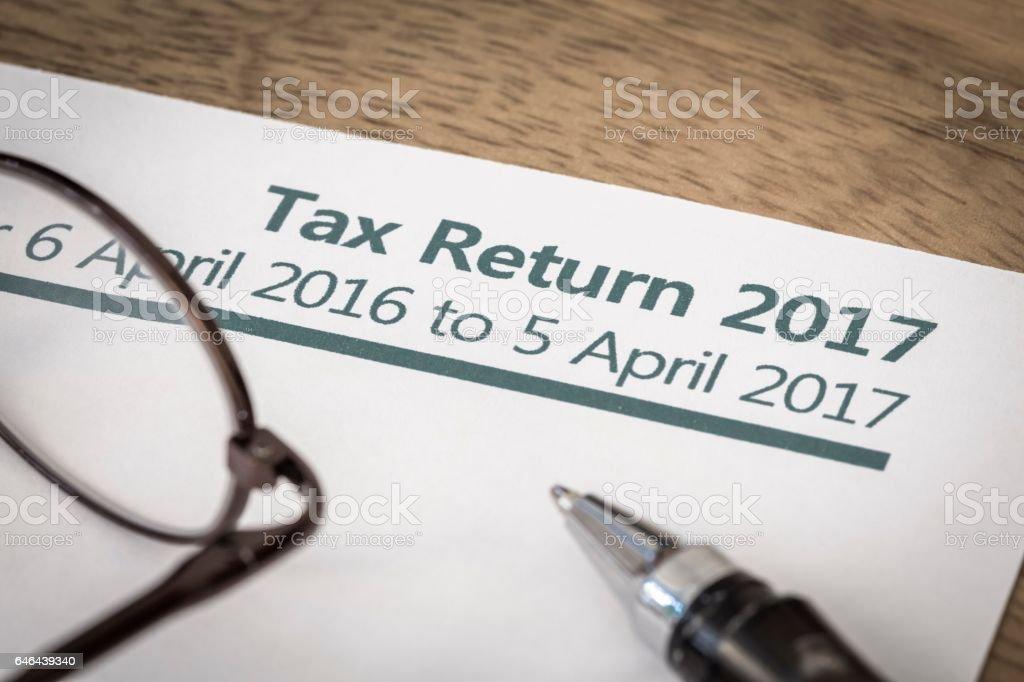 Tax return 2017 stock photo