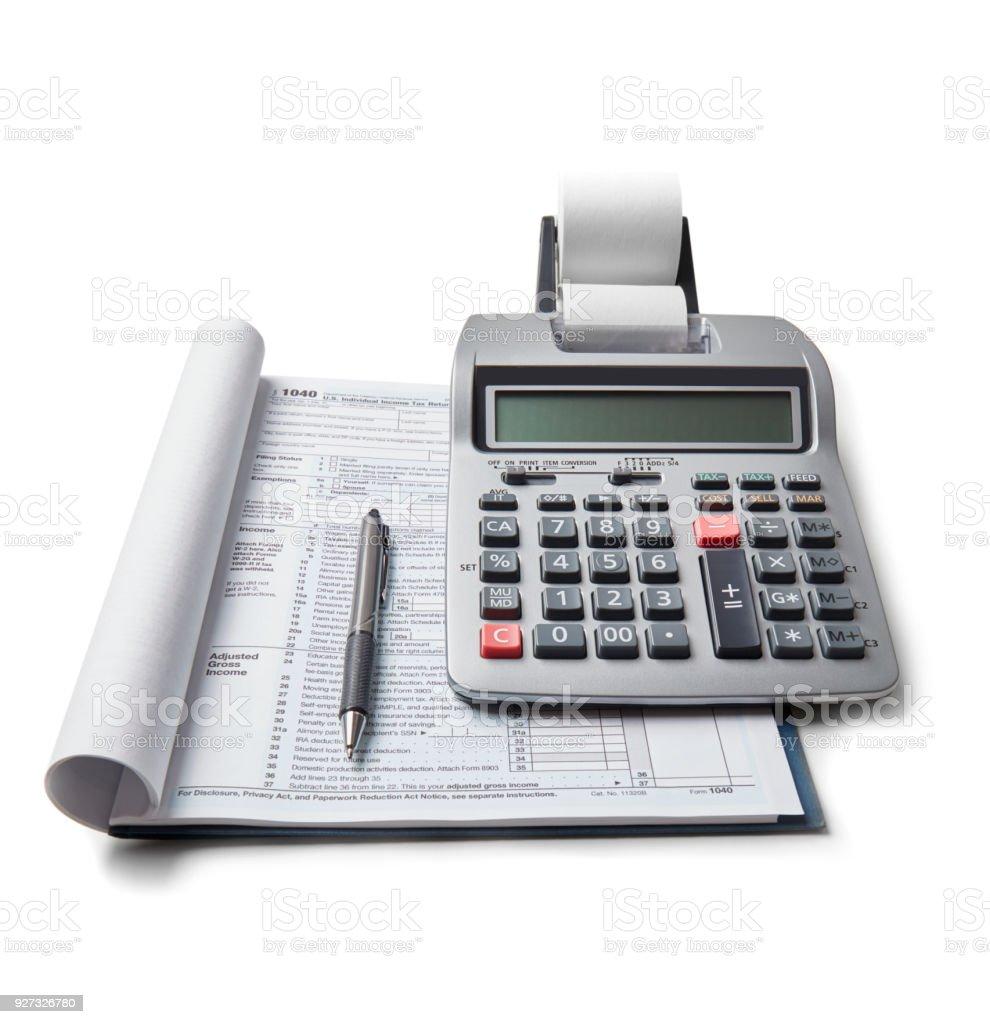 Steuererklärung und Taschenrechner – Foto