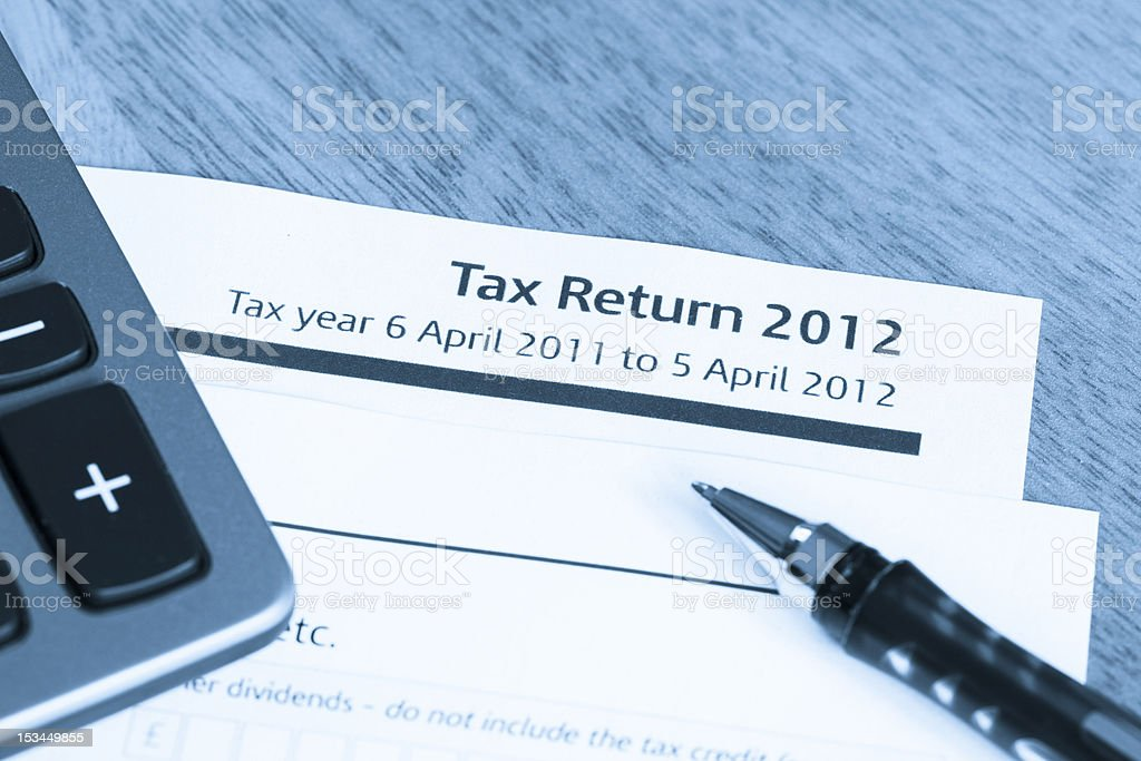 Tax return form 2012 royalty-free stock photo