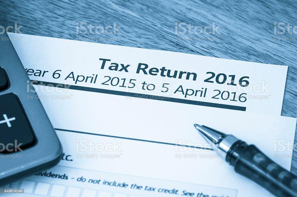 Tax return form 2016 stock photo