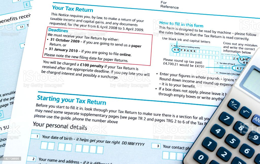 Tax return form royalty-free stock photo