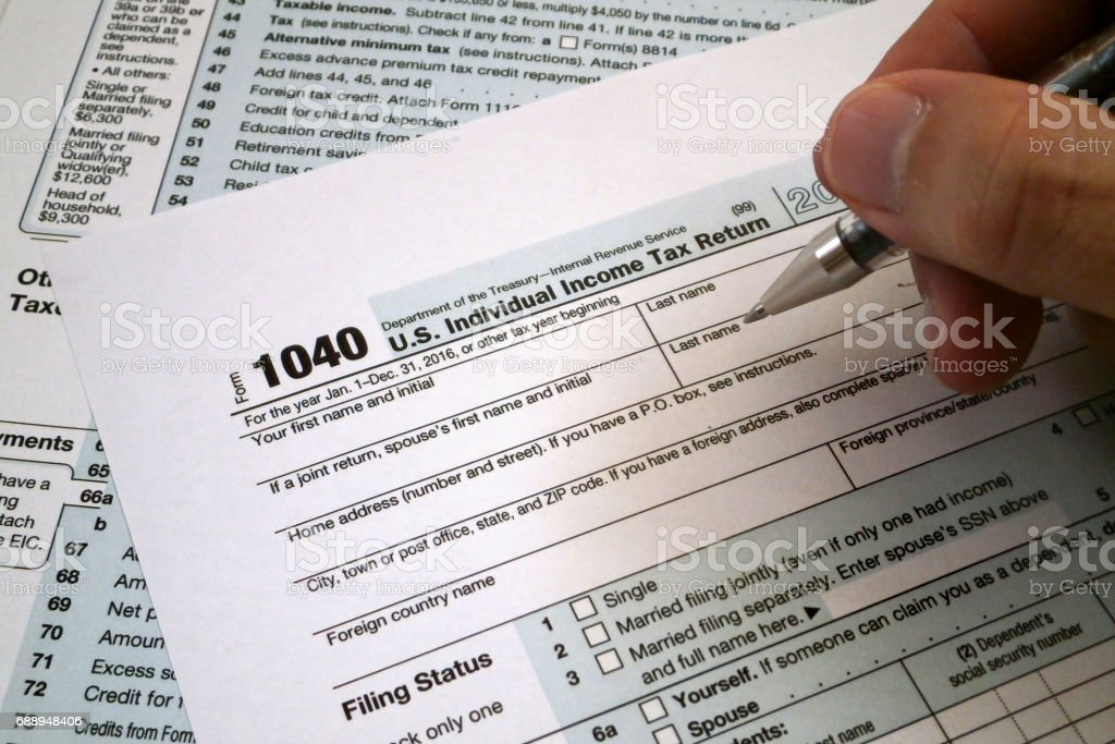 US Tax Return form stock photo