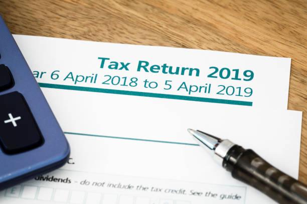 Tax return form UK 2019 stock photo