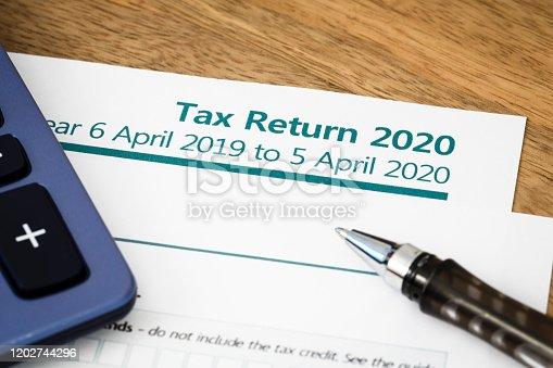 istock Tax return form UK 2020 1202744296
