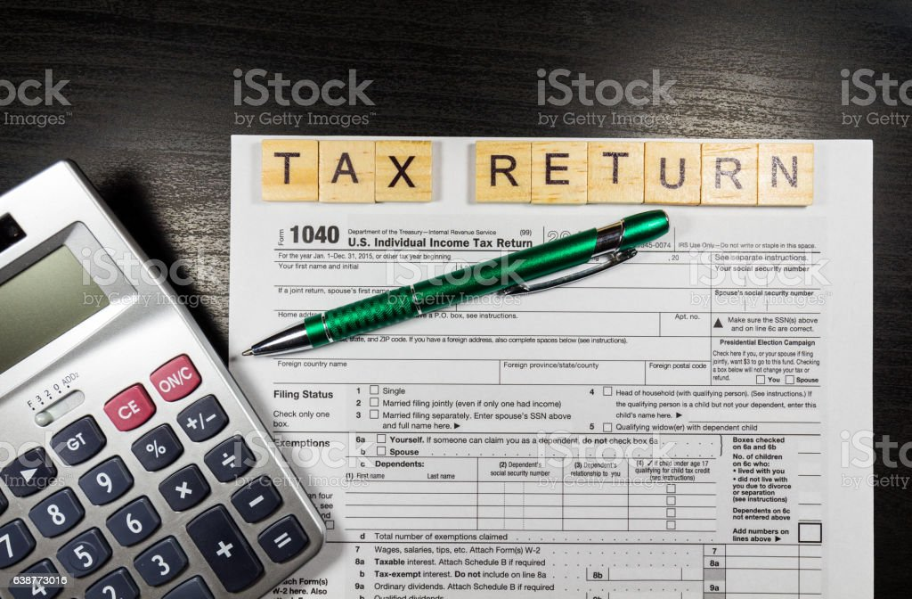 1040 Tax Return Form with a Pen stock photo