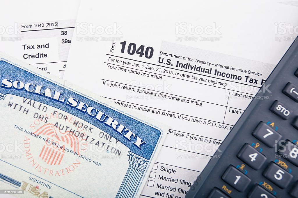 Tax return forms and documents stock photo