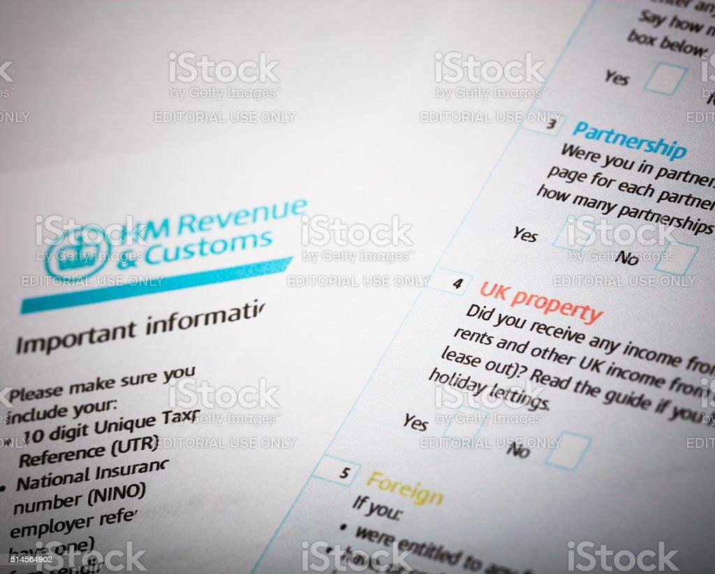 HMRC Tax return stock photo