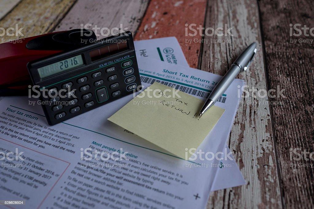 UK Tax Return Self Assessment Forms 2016 stock photo