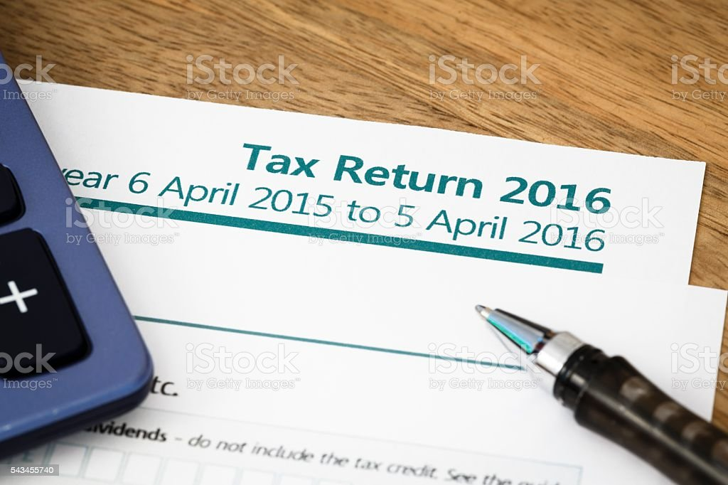 Tax return UK 2016 stock photo