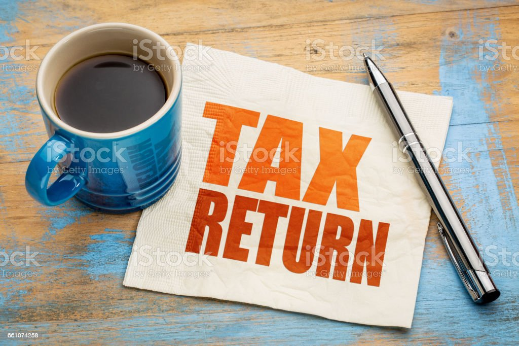 Tax return word abstract on napkin stock photo