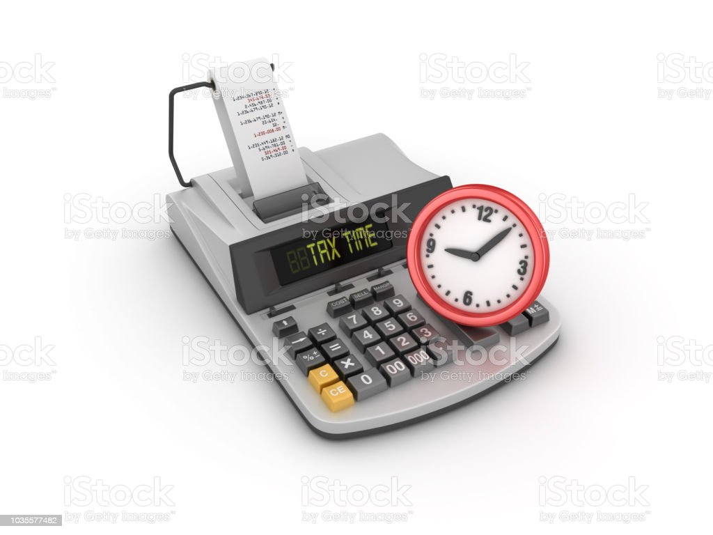 Tax Time Adding Machine Tape Calculator With Clock 3d Rendering