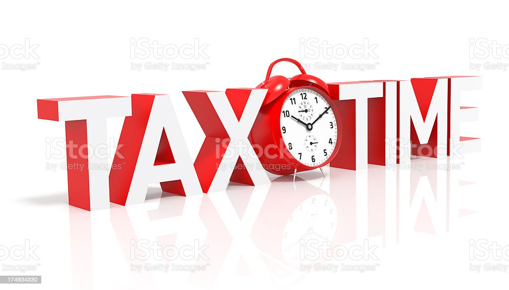 Tax Time and Red Clock stock photo