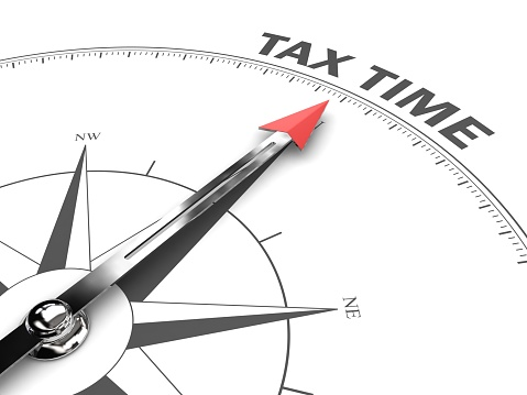 istock Tax time compass business target goal direction 1213653072