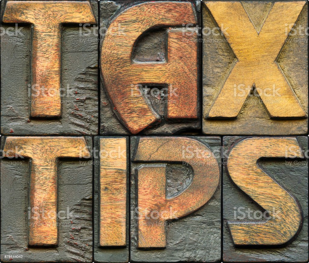 tax tips wooden letterpress stock photo