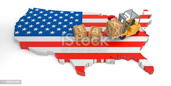 istock Tax Wooden Block Text of USA. 3D Rendering 1135923462