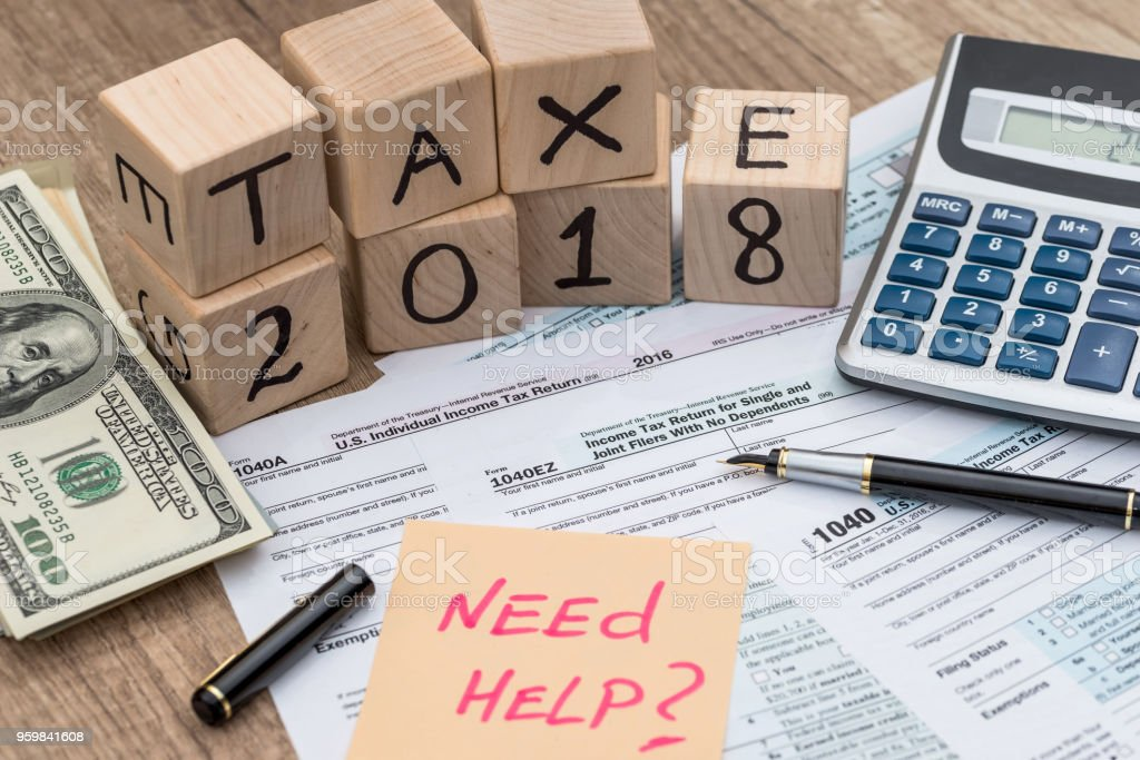 Taxation Company 2018 With Need Help Memo On 1040 Form Stock Photo