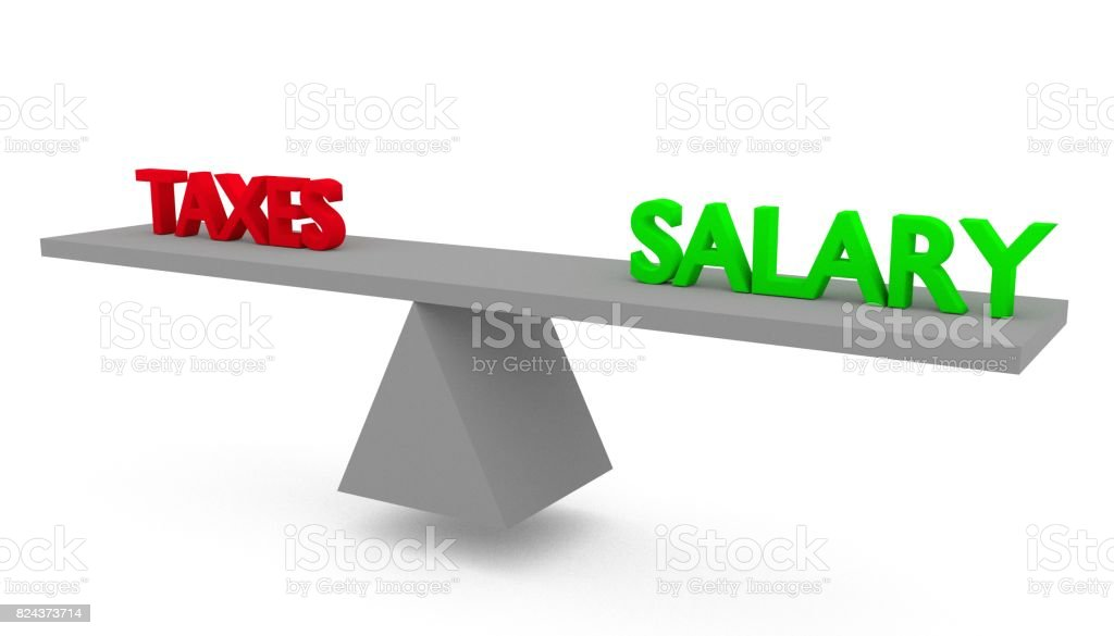 Taxes vs salary stock photo