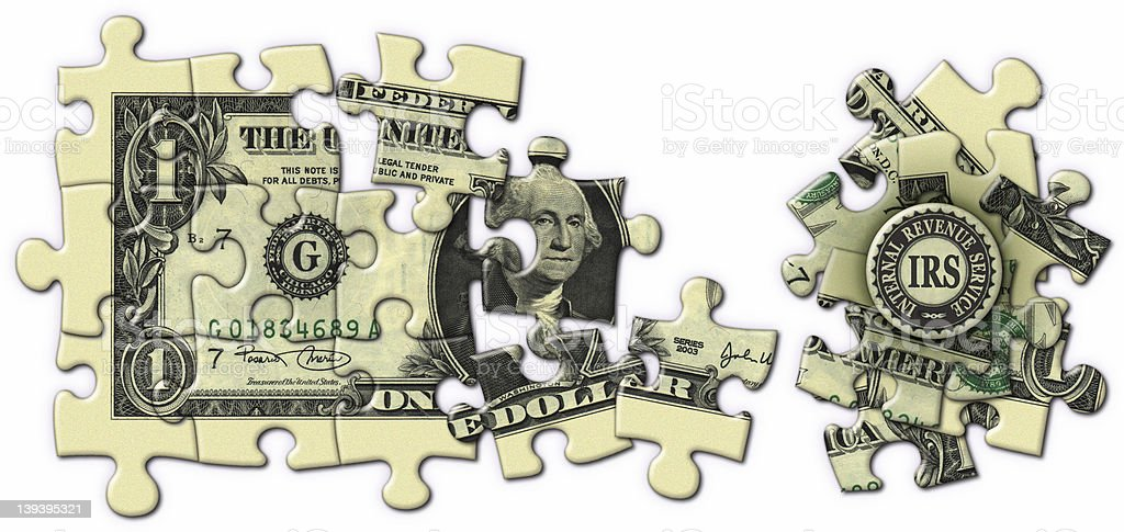 Taxes_Dollar Puzzle royalty-free stock photo