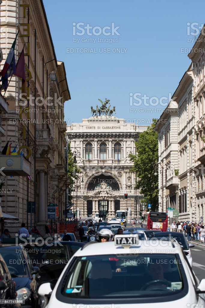 Taxi and Corte di Cassazione stock photo