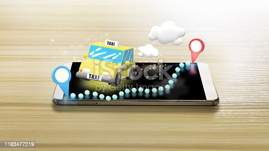 istock taxi and smartphone for taxi mobile app content. 1163477219