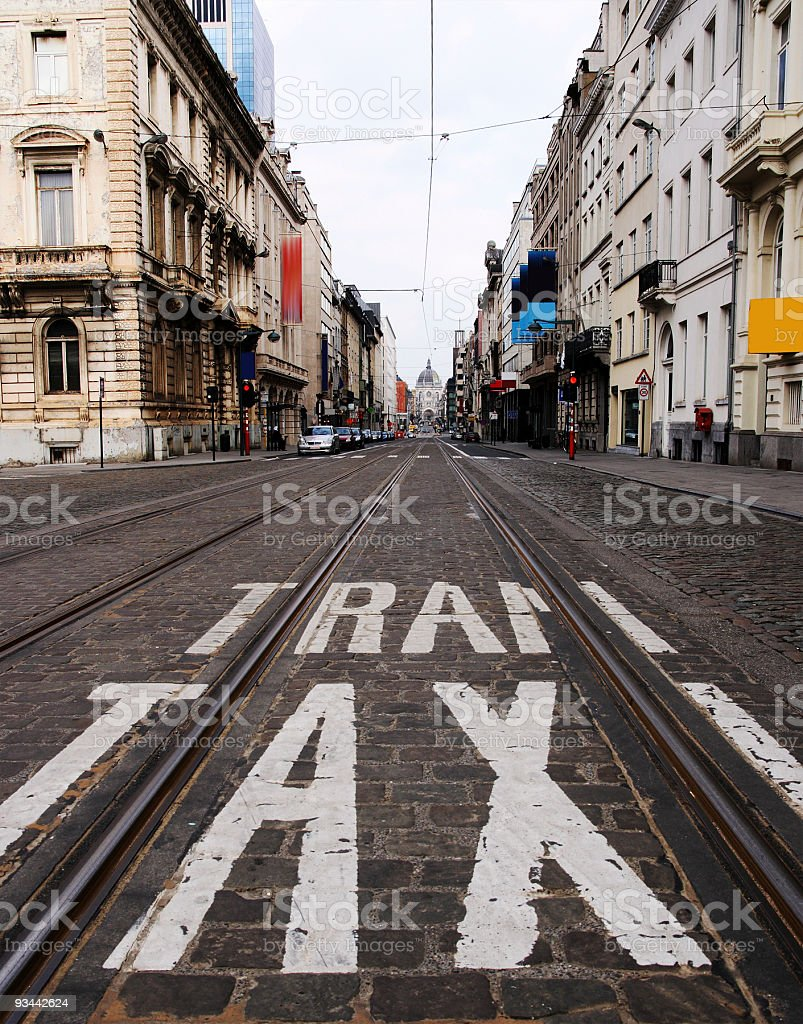 Taxi, die Straßenbahn auf der asphalt Lizenzfreies stock-foto