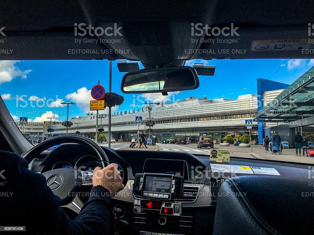 Taxi arriving at Arlanda Airport, Stockholm, Sweden stock photo