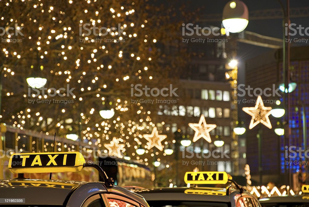 taxi at night  Berlin Stock Photo