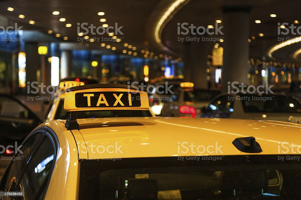 taxi at the airport stock photo