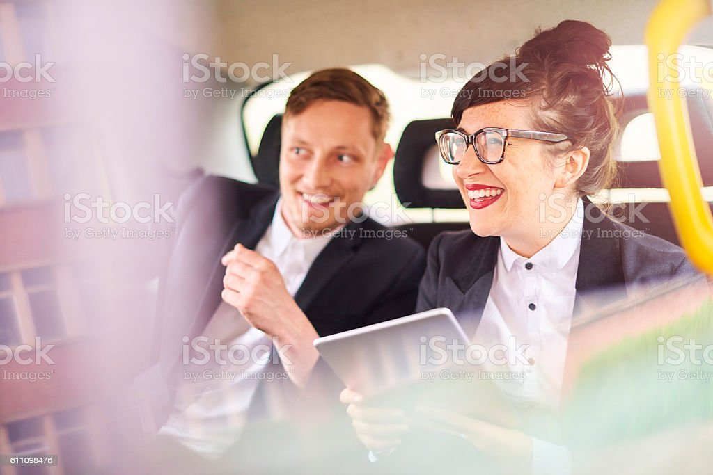 taxi business couple stock photo