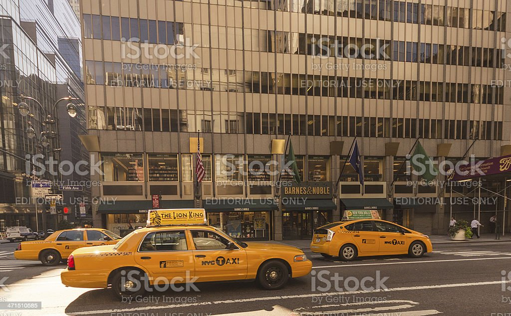 Taxi cab on the traffic of 6th Avenue royalty-free stock photo