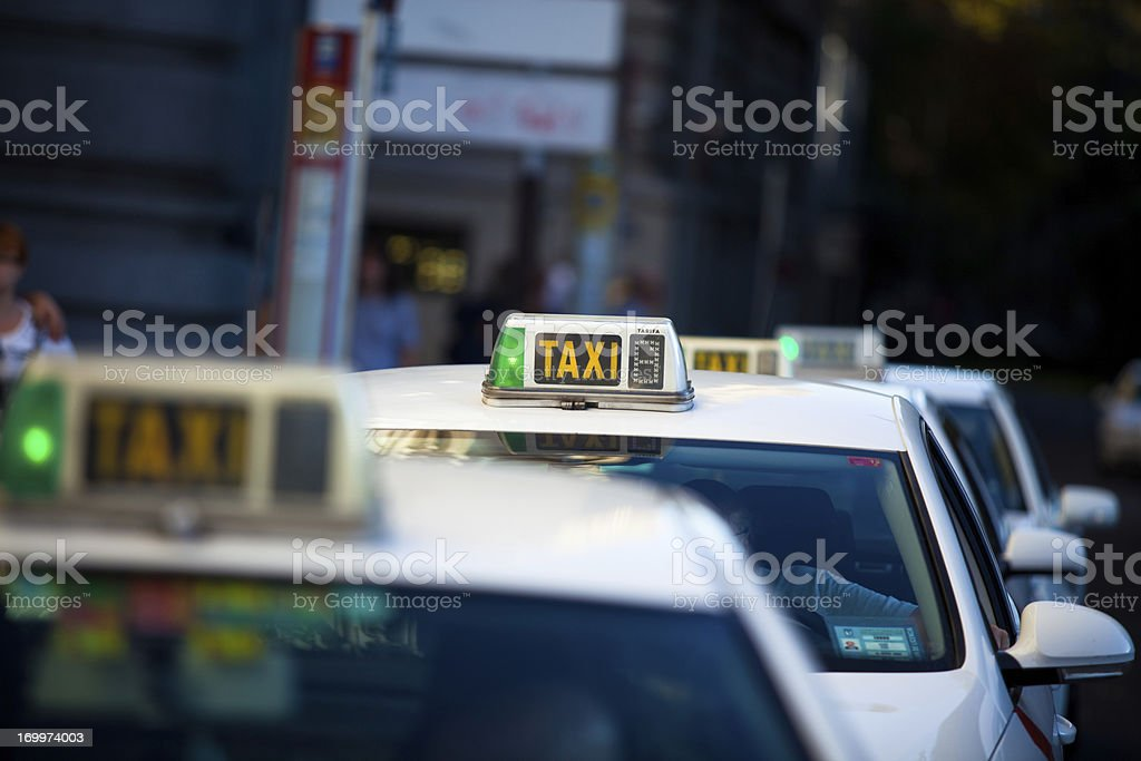 Taxi Cabs in Madrid, Spain stock photo