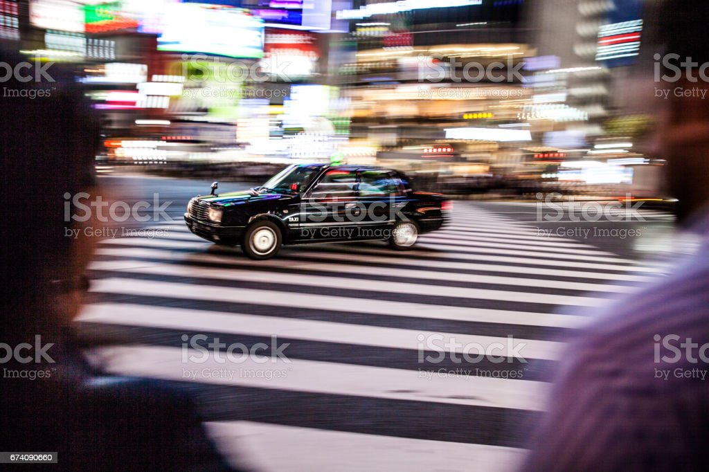 Taxi car in Shibuya intersection - Tokyo royalty-free stock photo