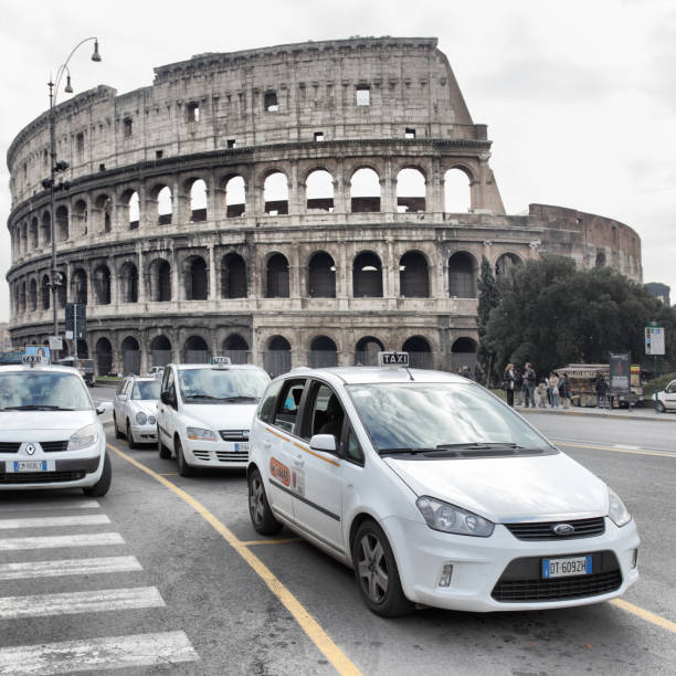 Taxi cars in Rome stock photo