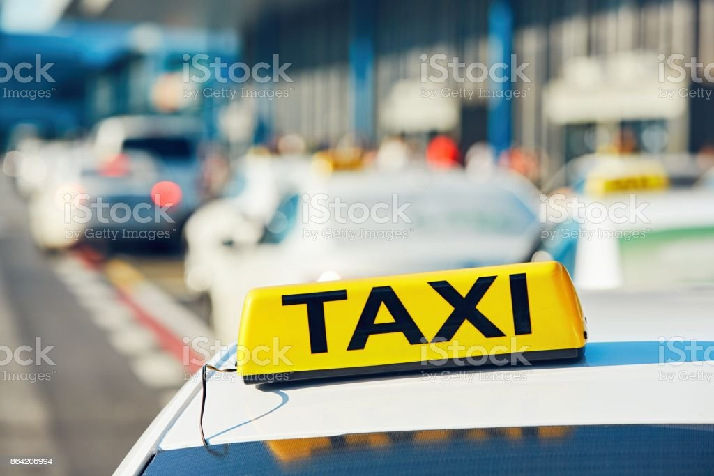Taxi cars on the street royalty-free stock photo