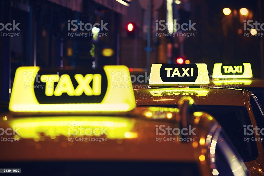 Taxi cars stock photo