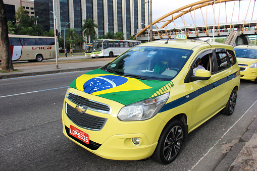 Taxi drivers protest against Uber app in Rio de Janeiro