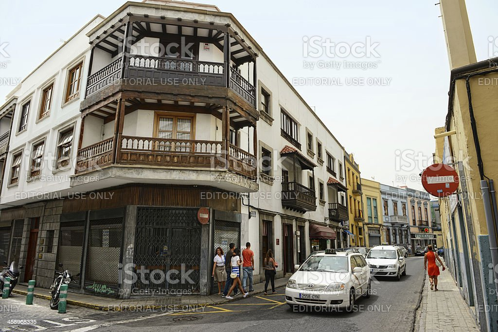 taxi driving at historical town district  of Las Palmas royalty-free stock photo