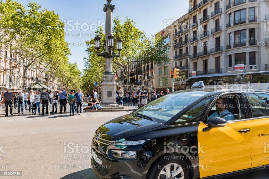 Taxi in Barcelona - The Ramblas stock photo